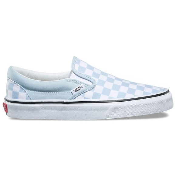 bb0b22e9802e00 Baby blue checkered slip on Vans. M 5b5a2f50cdc7f7a8f3e9479f